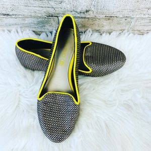 Aldo Choiven Black Leather Smoking Weave Flats